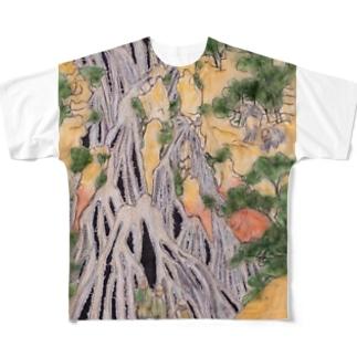 小粋な刺繍『諸国瀧廻り 下野黒山きりふりの滝』 Full graphic T-shirts