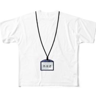 吊り下げ名刺 外来者(活字) Full graphic T-shirts