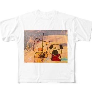 ブタさんとパグさんTシャツ All-Over Print T-Shirt