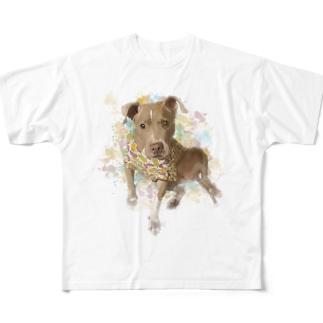 ダサい t シャツ「犬」〜水彩画風〜 Full graphic T-shirts