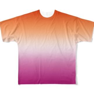 グラデーション プライドフラッグ レズビアン Full graphic T-shirts