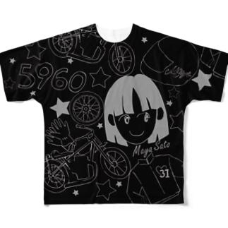 佐藤摩弥デザインTシャツ.ブラック Full graphic T-shirts