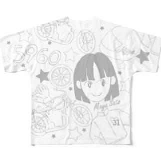 佐藤摩弥デザインTシャツ.ホワイト Full graphic T-shirts