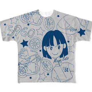 佐藤摩弥デザインTシャツ.グレー Full graphic T-shirts