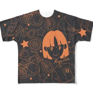 佐藤摩弥デザインTシャツ.ダークグレーⅠ Full graphic T-shirts