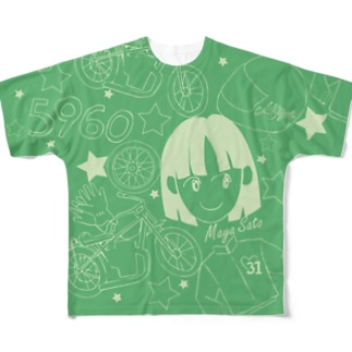 佐藤摩弥デザインTシャツ.グリーン Full graphic T-shirts