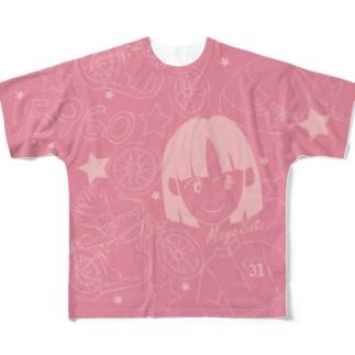 佐藤摩弥デザインTシャツ.ピンク Full graphic T-shirts
