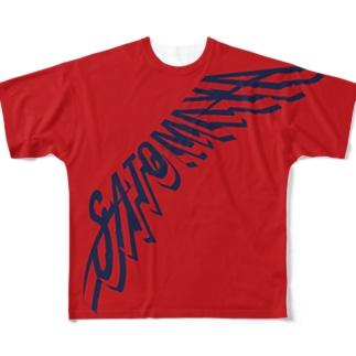 """SATOMAYA""ロゴTシャツ.レッド Full graphic T-shirts"