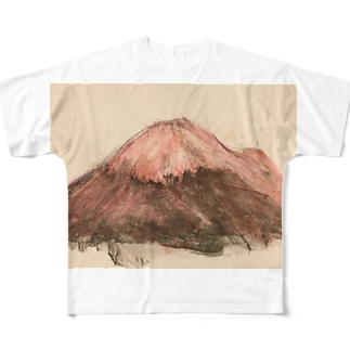 レッド富士山 Full graphic T-shirts