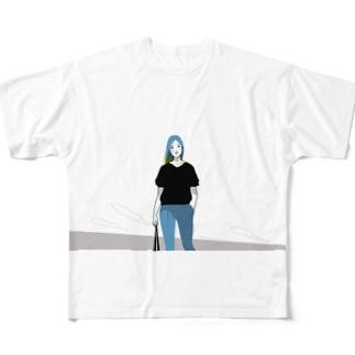 青が似合う女性 Full graphic T-shirts