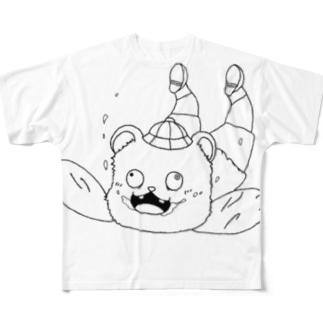 スカイダイビングするクマ Full graphic T-shirts