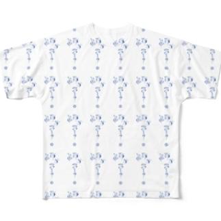 連綿体シリーズ『成功力学』パターン柄ver. Full graphic T-shirts