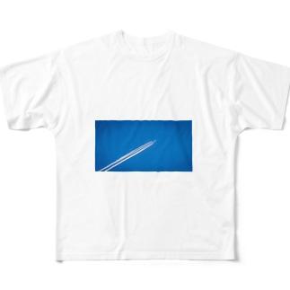 飛行機雲 Aerial cloud Full graphic T-shirts
