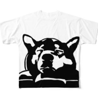 切り絵・犬 Full graphic T-shirts