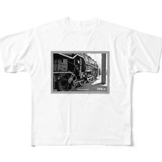 車庫にスタンバイするC622蒸気機関車 (モノクロフォト) All-Over Print T-Shirt