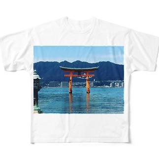 厳島神社 Full graphic T-shirts