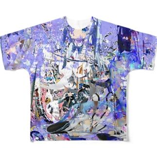 哲学 青 Full graphic T-shirts