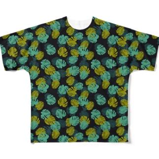 フラットでポップなモンステラ。 Full graphic T-shirts