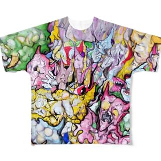 鬼イラストフルグラフィックTシャツ Full graphic T-shirts