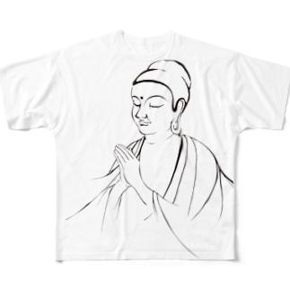 ブッダ 祈り Full graphic T-shirts