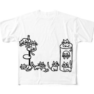 ねこがたくさんいる Full graphic T-shirts