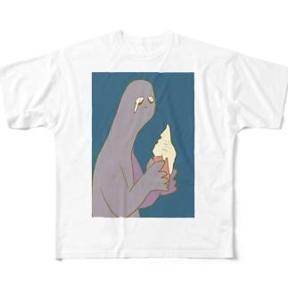 アイス溶ける Full graphic T-shirts
