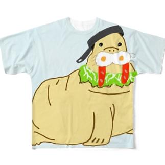 モーニングセイウチ(背景あり) Full graphic T-shirts