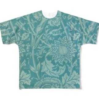 ウィリアム・モリス《なでしことバラ》 Full graphic T-shirts