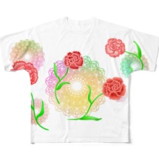 レースとカーネーション Full graphic T-shirts