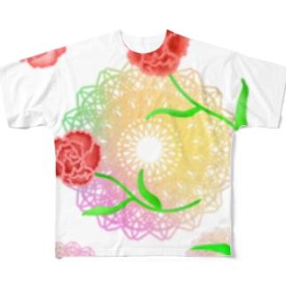 レースとカーネーション② Full graphic T-shirts