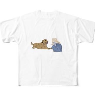 犬と少女 Full graphic T-shirts