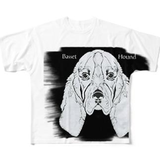 バセットハウンド・切り絵 Full graphic T-shirts