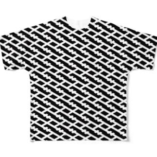 IOST[S]格子 WH/BK Full graphic T-shirts
