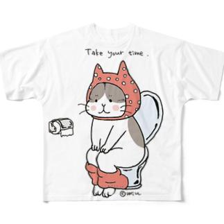 トイレねこ 桃色 Full graphic T-shirts