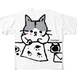 おてがみかくねこ Full graphic T-shirts