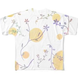 パステルカラー草花 Full graphic T-shirts
