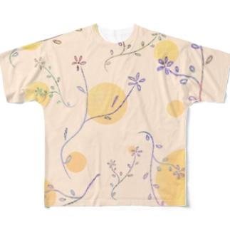 パステル草花 Full graphic T-shirts