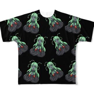 宇宙人ちゃん総柄ブラック Full graphic T-shirts