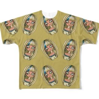 古代エジプト風ギャル総柄エジプト風カラー Full graphic T-shirts
