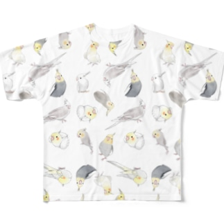 たっぷりオカメインコちゃん【まめるりはことり】 Full graphic T-shirts