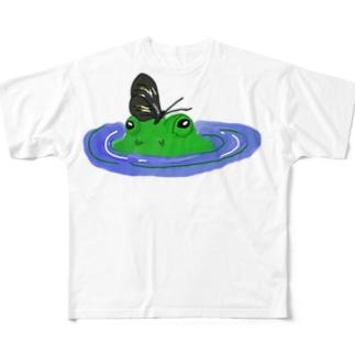 isay-t(文鳥/雀/sparrow/野鳥/カエル/frog/蛙/爬虫類/カメ/キンカチョウなど)のカオダシカエル Full graphic T-shirts