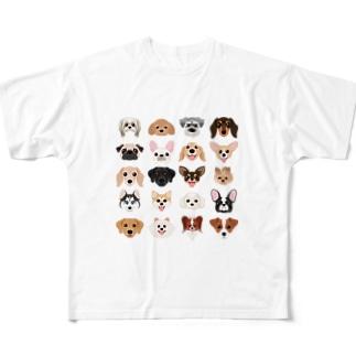 いろいろな犬種のかわいい顔 Full graphic T-shirts