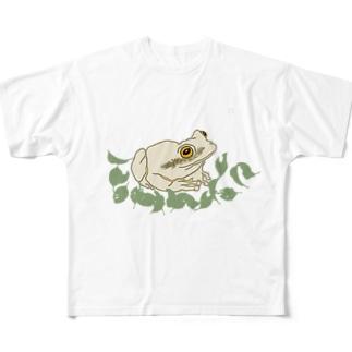 白いカエルと葉っぱ Full graphic T-shirts