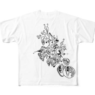 かいじゅうのすむほし Full graphic T-shirts