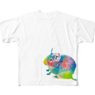 虹色デグー Full graphic T-shirts