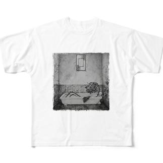 黒猫†フランベルジュのお店のシャンソン Full graphic T-shirts