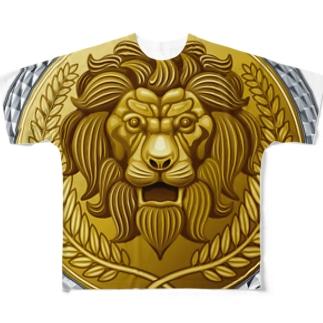 ゴージャスなライオンのレリーフ Full graphic T-shirts