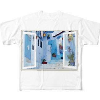 どこでも窓モロッコの町シャウエン Full graphic T-shirts