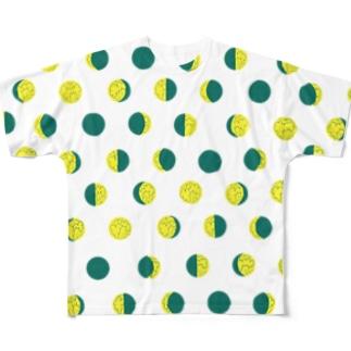 月の満ち欠けのドット Full graphic T-shirts