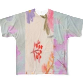 フラワー💠しましま Full graphic T-shirts